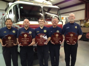From left to right: Capt.David Kile - Officer of the Year, Capt. Bill Vogler - Officer of the Year, Lt. Billy Vogler-Firefighter of the Year, Walt Pluznick-Engineer of the Year and Pete Flores-Fire Policeman of the Year
