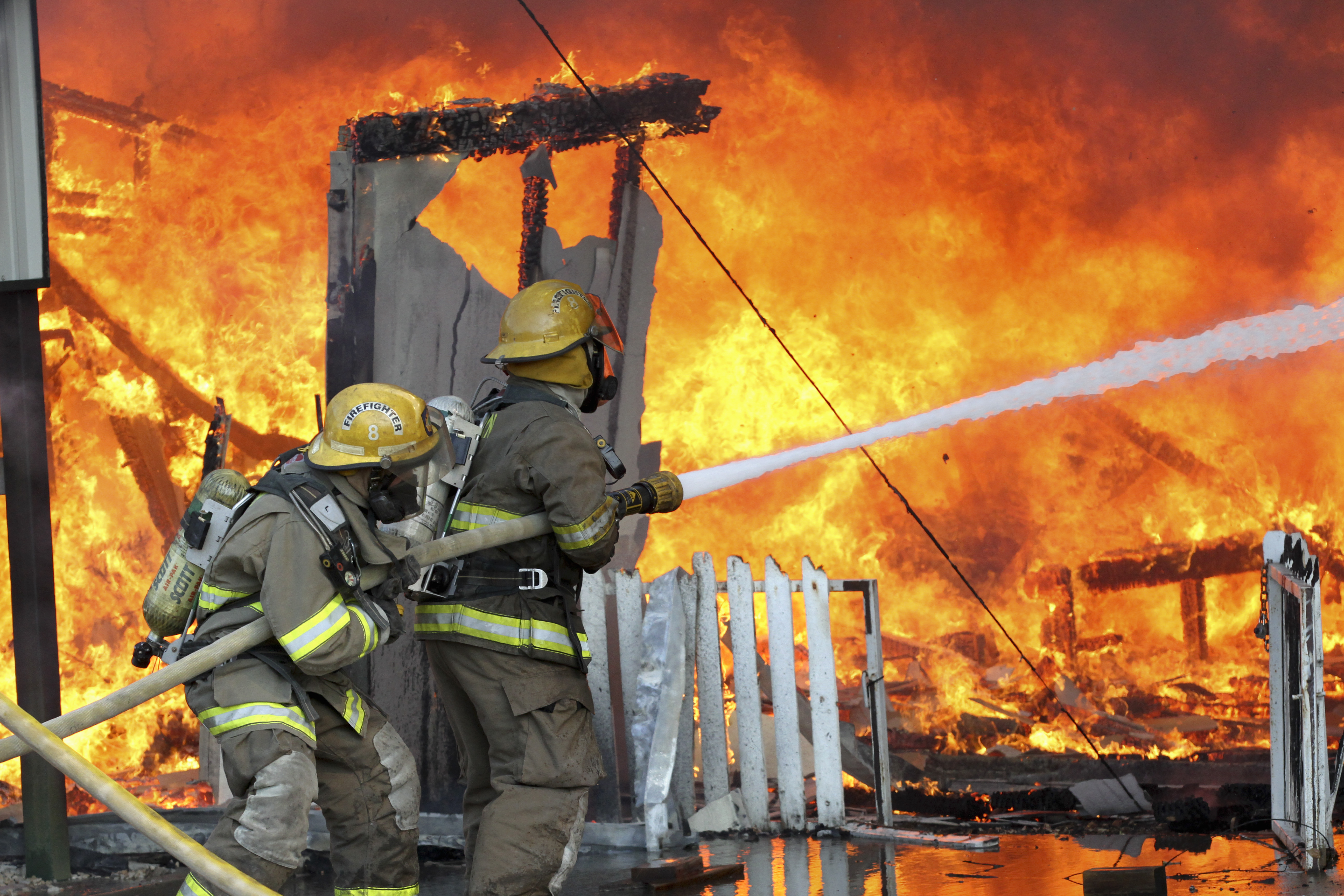 pecan plantation firefighters at work